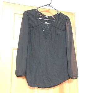 Lucky Brand black peasant style top